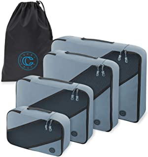 4-Piece Luggage Packing Cubes - Travel Organizer Set with Laundry Bag - Blue