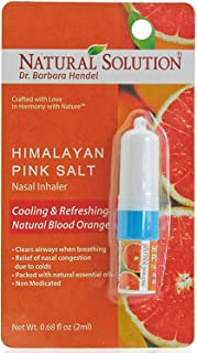 Natural Solution Pink Salt Aromatherapy Nasal Inhaler with Refreshing Blood Orange Essential Oils, Natural remedy for Sinus Relief, Allergies, Headaches, Cold, Flu & Congestion - 0.68 Oz