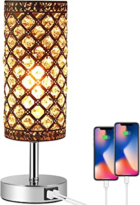 PROZOR Crystal Table Lamp with Dual USB Ports Dimmable Touch Control Bedside Table Light with E27 6W Bulb and Certified Power Supply Modern Sliver Light for Bedroom Living Room Guest Room