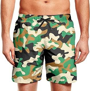 Men's Beachwear Green camo pattern-01 Swim Colorful Shorts