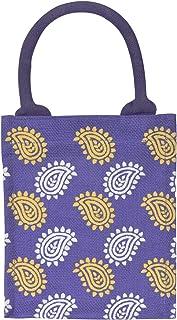 Jute Cottage Eco-Friendly Unisex Paisley Print Lunch Bag (Purple, 9 x 8 x 6 Inch)