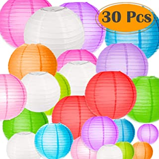 Selizo 30 Packs Paper Lanterns Decorative Colorful Chinese Hanging Decorations for Rainbow Party Classroom Ceiling Decoration