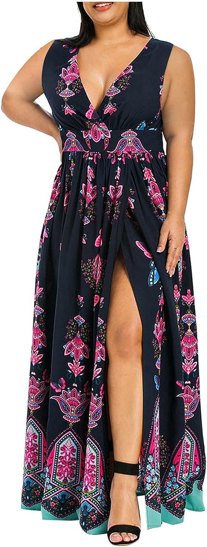 ESULOMP Plus Size Womens Casual Dress Fashion Floral Printed Short Sleeve V-Neck Cold Shouder Dress Summer Dress