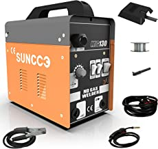 SUNCOO 130 MIG Welder Flux Core Wire Automatic Feed Gasless Little Welder Portable Welding Machine 110 Volt with Free Mask and Spool Gun Yellow