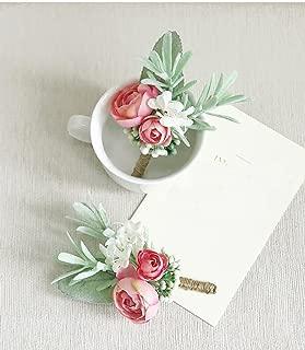 Yokoke Artificial Succulent Boutonniere Bouquet Corsage Wristlet Vintage Silk Fake Pink Flowers flocked Plants For Groom Bride Wedding Decor 2 Pcs (Corsage)