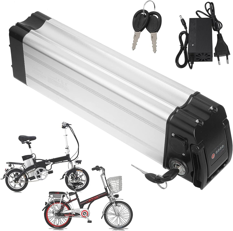 Sinbide 36V E-Bike Batería de Reemplazo 10Ah/15Ah/17Ah Recargable Li-Ion Batería de Bicicleta Eléctrica con Cargador Bloqueo Antirrobo 2 Tipos de Puerto Descargado Opcionales