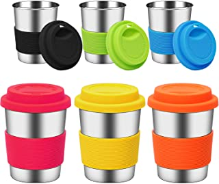 Ruisita 6 Pack 8 Ounce Stainless Steel Cups with Silicone Lids and Sleeves Unbreakable Drinking Pint Cups for Children and...
