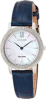 ساعة يد سيتيزن بسِوار جلدي ومينا بلون رمادي للنساء، EX1480-15D
