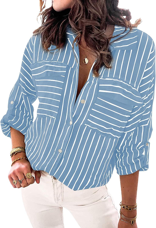SHEWIN Women's Long Sleeve Tops Casual Loose Blouses Button-Down Shirts