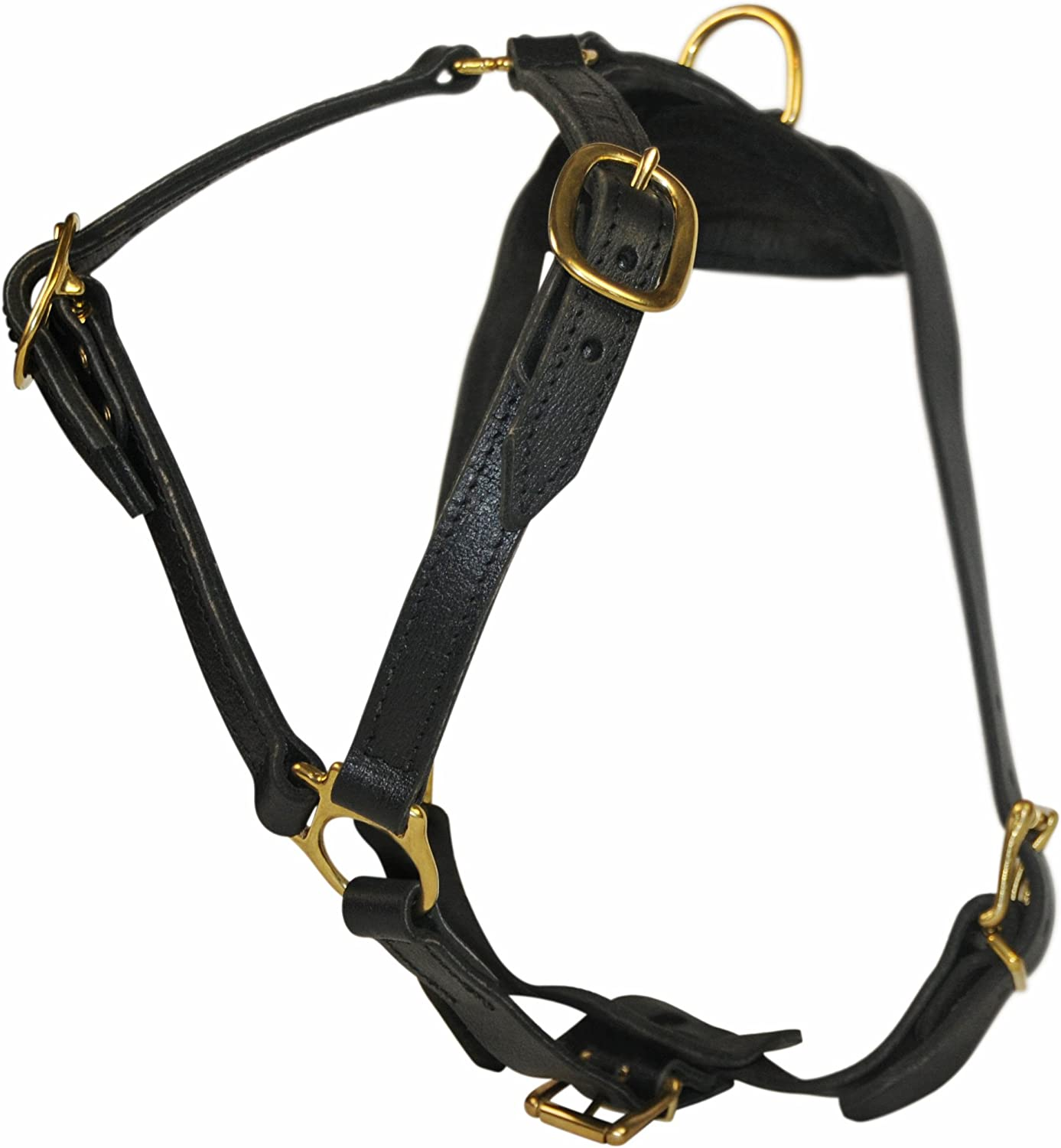 Dean & Tyler D&T Tyler's Choice BRM Tyler's Choice with Handle Solid Brass Hardware Leather Dog Harness, MediumFits Girth, 71cm to 89cm, Brown