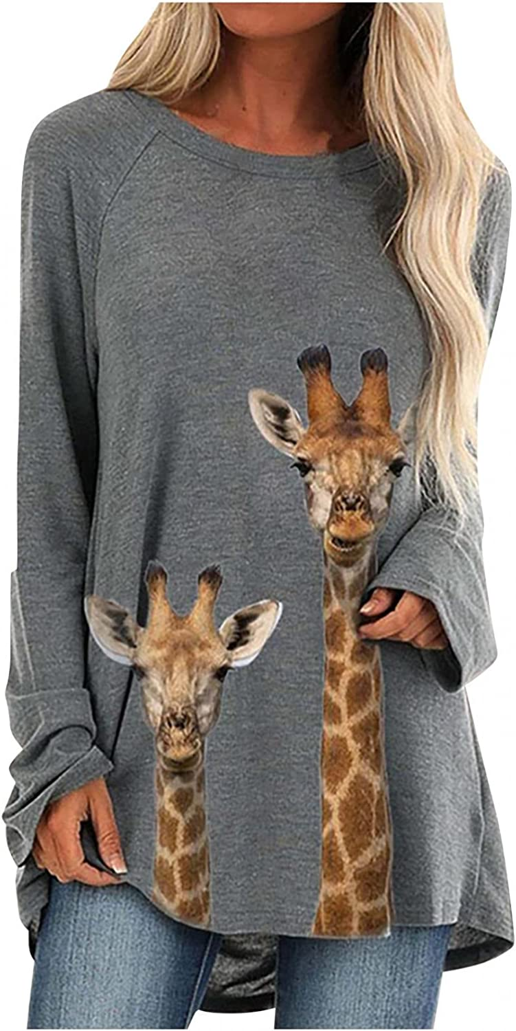 FABIURT Long Sleeve Shirts for Women Trendy Crewneck Tie Dye Print Pullover Top Loose Cute Graphic Tunic Sweaters Shirts