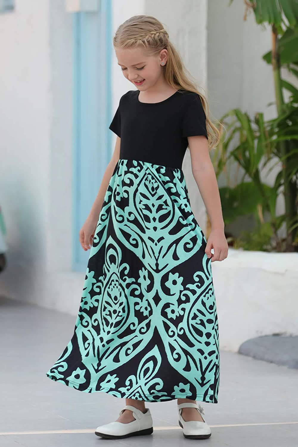 GORLYA Girls Short Sleeve Patchwork Floral Print Loose Casual Long Maxi Dress with Pockets for 4-12 Years Kids