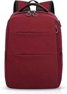 Mochila para portátiles, 15.6 Pulgadas Mochila USB Mochila de Portátil Bolso, Impermeable Bolsa Viajes para Colegio Viaje Negocios, Hombre/Mujer, Impermeable Poliéster Rojo