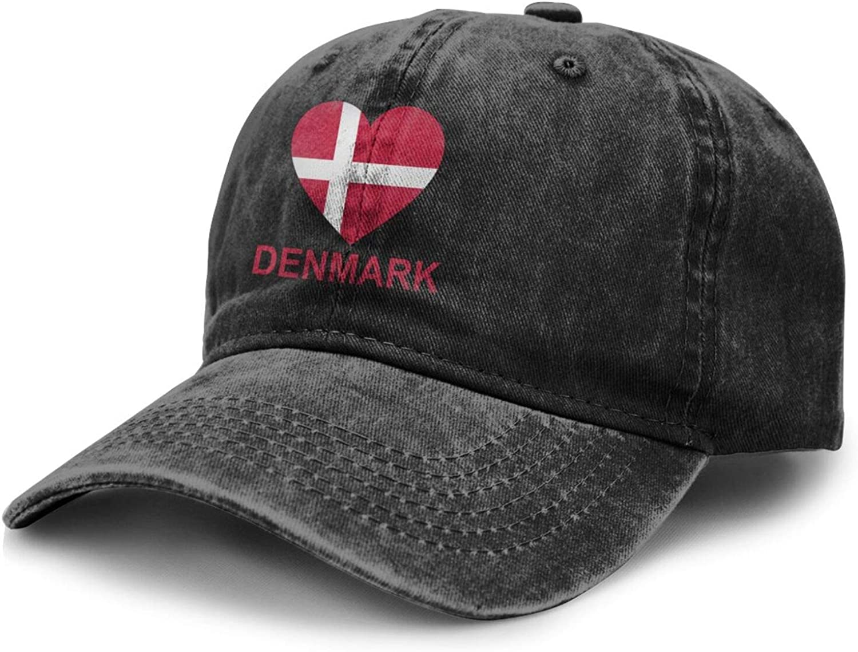 Love Denmark Adult Curved Brim Baseball Hat Sports Cowboy Cap