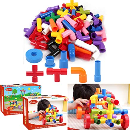 Pipe Joint Construction Sets Building Blocks with Wheels Toys Plastic DIY Educational Toys for Boys Girls Toddlers and Preschool Kids 72pcs