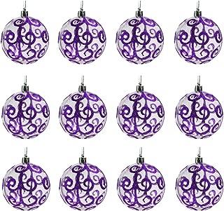 Sleetly Christmas Ball Ornaments, Purple Swirl, 3.15 inches, Set of 12