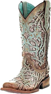 Corral Women's Mint Glitter Inlay & Studs Fashion Western Square Toe Boots