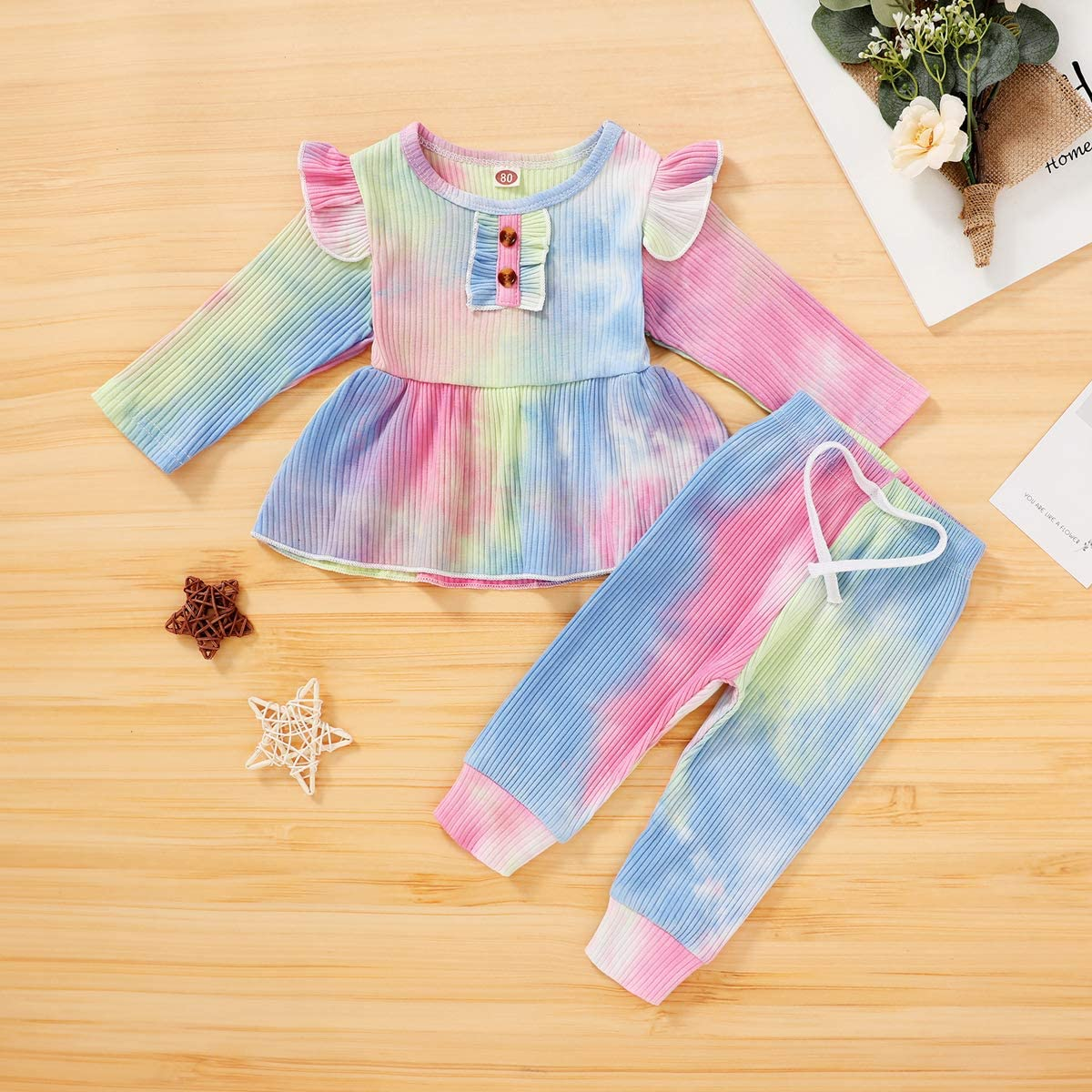 Toddler Baby Girl Clothes Fall Outfits Infant Tie Dye Ruffle Sleeve Tops Long Pants Cute Baby Girl Outfits Set