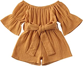 JBEELATE Toddler Baby Girl Casual Romper Bodysuit Off Shoulder Solid Jumpsuit Outfit Cotton Linen Short Flare Sleeve Clothes