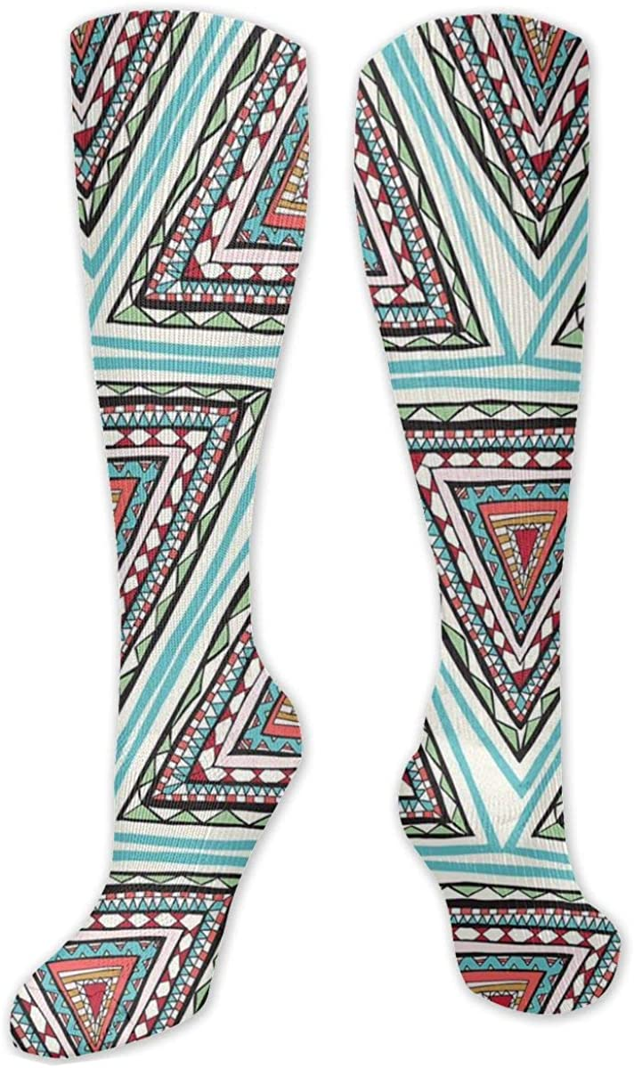 Ethnic Triangle Knee High Socks Leg Warmer Dresses Long Boot Stockings For Womens Cosplay Daily Wear