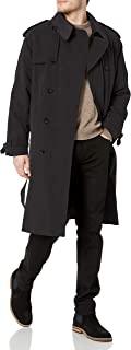 Men's Iconic Double Breasted Trench Coat with Zip-Out Liner and Removable Top Collar, Black, 42