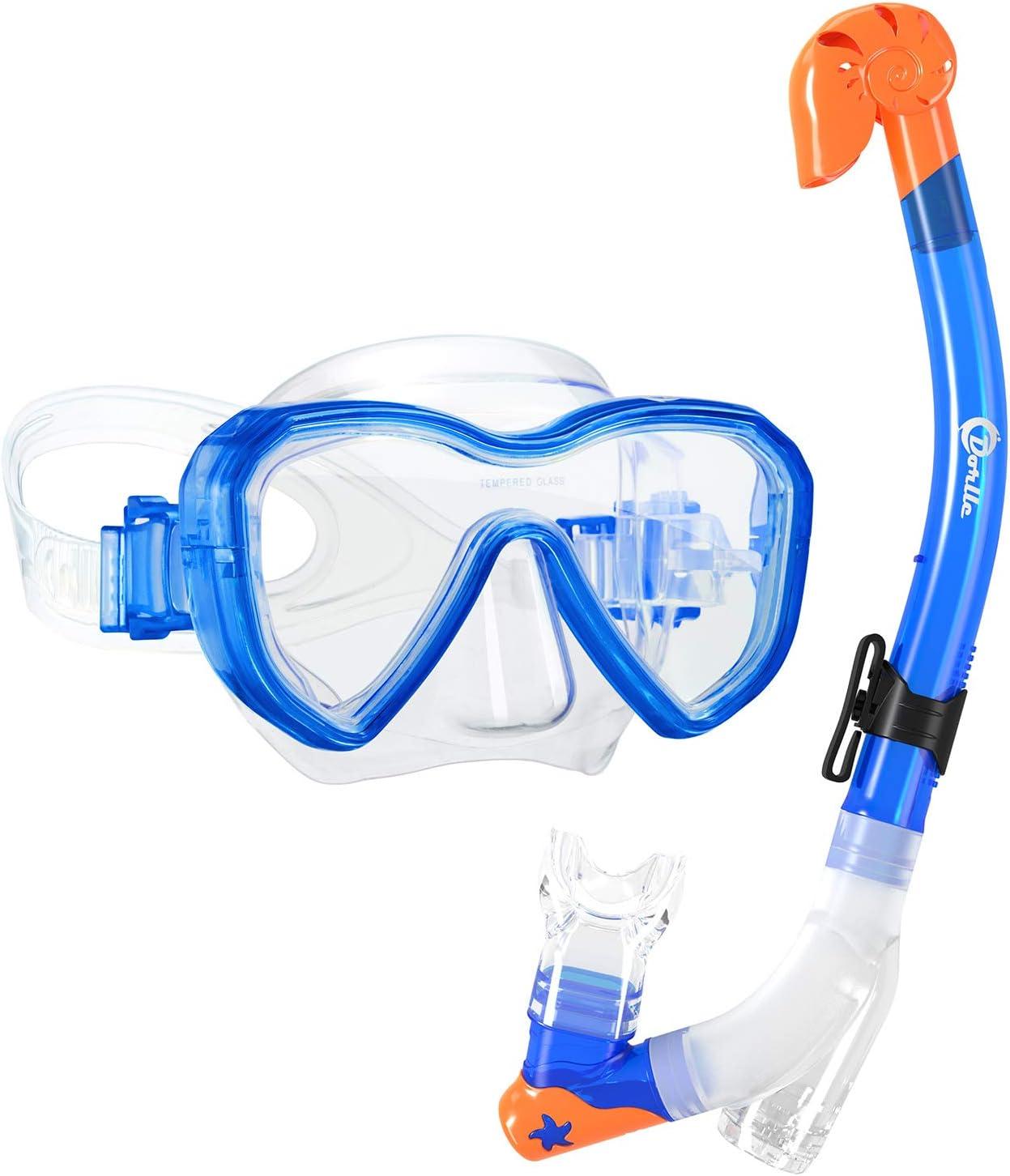 Schnorchel blau Taucherbrille Nerd Clear Kinder 3-teiliges Schnorchelset gr/ün farblich Sortiert in rot Flossen