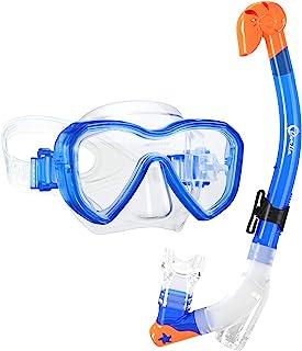 Dorlle Kids Snorkel Set Snorkel Mask with Premium Dry Snorkel and Anti-Fog Anti-Leak Diving Goggles Snorkeling Packages Pr...
