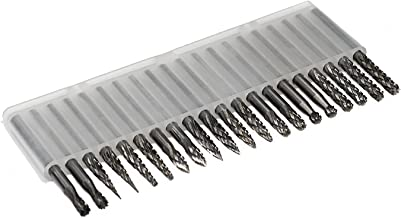 Carbide Burr Set JESTUOUS 1/8 Shank Diameter Double Cut Tungsten Carbide Burs Rotary File Carving Grinding Bit for Die Grinder Rotary Drill Tool 20pcs
