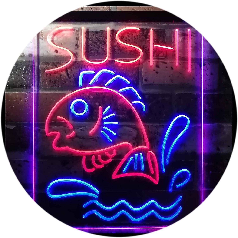 ADVPRO Sushi Fish Shop Restaurant Japanese Food Dual Farbe LED Barlicht Neonlicht Lichtwerbung Neon Sign Blau & rot 12  x 16  st6s34-i3143-br