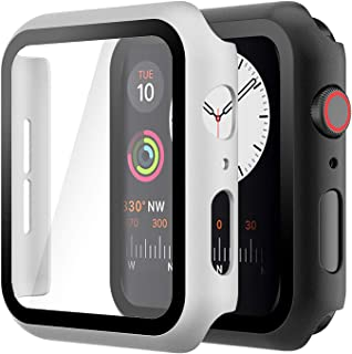 Hianjoo (2 Pack) Case Compatible with Apple Watch SE Series 6 Series 5 Series 4 40mm, Built-in Thin HD Tempered Glass Scre...