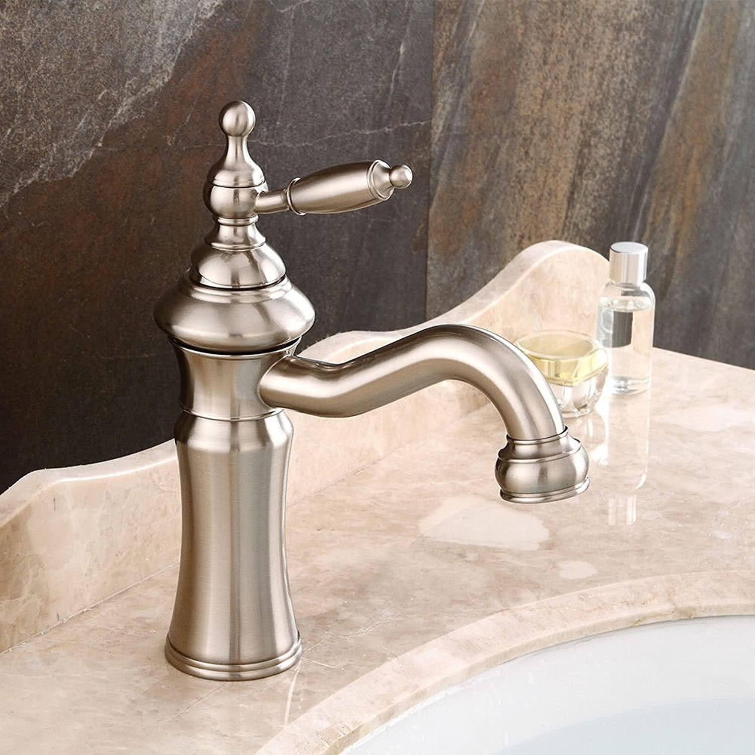 AQMMi Bathroom Sink Mixer Tap Brushed Retro Hot and Cold Water Swivel Taps for Bathroom Sink