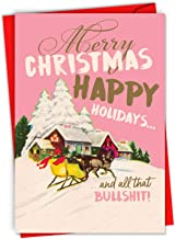 Funny Merry Christmas Card 'season's Bullsh-t' w/Envelope - Featuring a Vintage Retro Style Advertisement for Santa Claus and His Reindeer - Happy Holidays, Seasons Greetings - Adult Humor C6693XSG