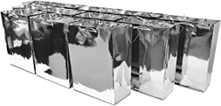 """7.5x9x3.5"""" 12 Pcs. Medium Metallic Silver Paper Gift Bags with Metallic Handles, Party Favor Bags for Birthday Parties, Weddings Gifts"""