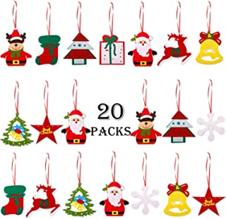 Hicarer 20 Pieces Christmas Felt Ornaments Christmas Tree Ornaments Xmas Hanging Decoration Pendant for Christmas Home Door Decorations