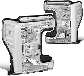 Pair Chrome Housing Front Bumper Headlight Lamps for Ford F250 F350 F450 F550 Super Duty 17-19