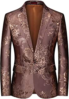 YOUTHUP Mens Slim Fit Embroidery Blazer Single Breasted 1 Button Flowery Suit Jacket Floral Wedding Jackets