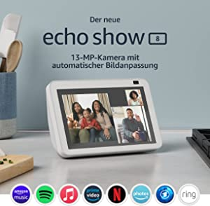 Der neue Echo Show 8 (2. Generation, 2021) | HD-Smart Display mit Alexa und 13-MP-Kamera | Weiß