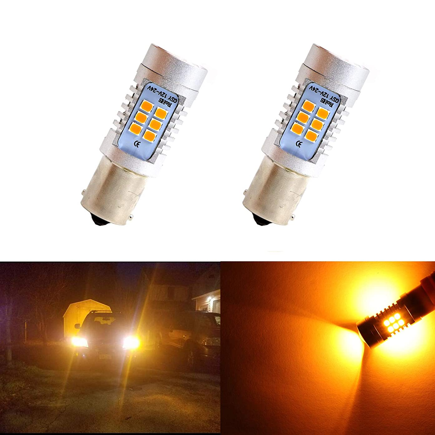 Dantoo 2pcs 1141 1156 Turn Signal Bulbs 21 SMD Extremely Bright Amber Yellow LED Bulbs For Turn Signal Lights Blinker Lamps