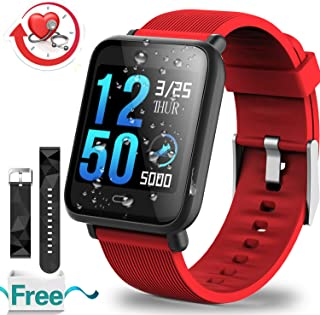 IP67 Waterproof Fitness Tracker with Heart Rate Blood Pressure Monitor Calories Pedometer Call SMS Camera Music Counter for Women Men Sport Outdoor Activity Bracelet for Birthday Gifts