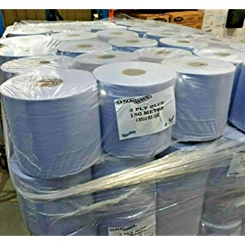 2Work Centrefeed Roll 3-Ply Blue 135m Pack of 6 2W00083 2W00083
