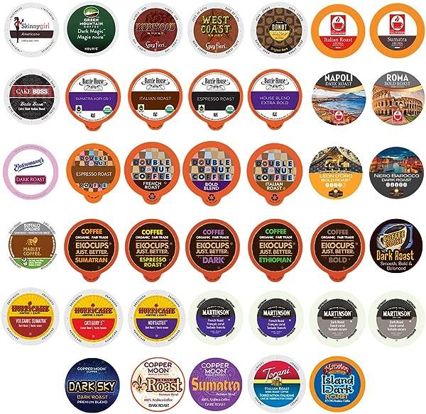 40 Count BOLD DARK ROAST COFFEE Single Serve Cups For Keurig K Cup Brewers Variety Pack Sampler Bold Sampler