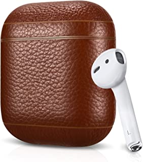 Leather Case For Apple AirPods, Pebble Series - Air Vinyl Design, Protective Case Cover (Brown)