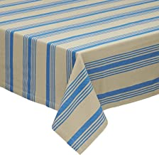 Design Imports Maritime Table Linens, 60-Inch by 84-Inch Oblong (Rectangle) Tablecloth, Sailor Stripe