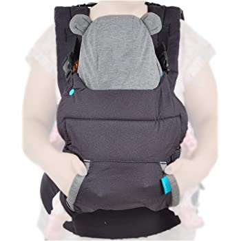 Infantino Cuddle Up Ergonomic Baby Carrier, Face-in Front Carry & Back Carry with Removable Character Canopy Hood - Bear