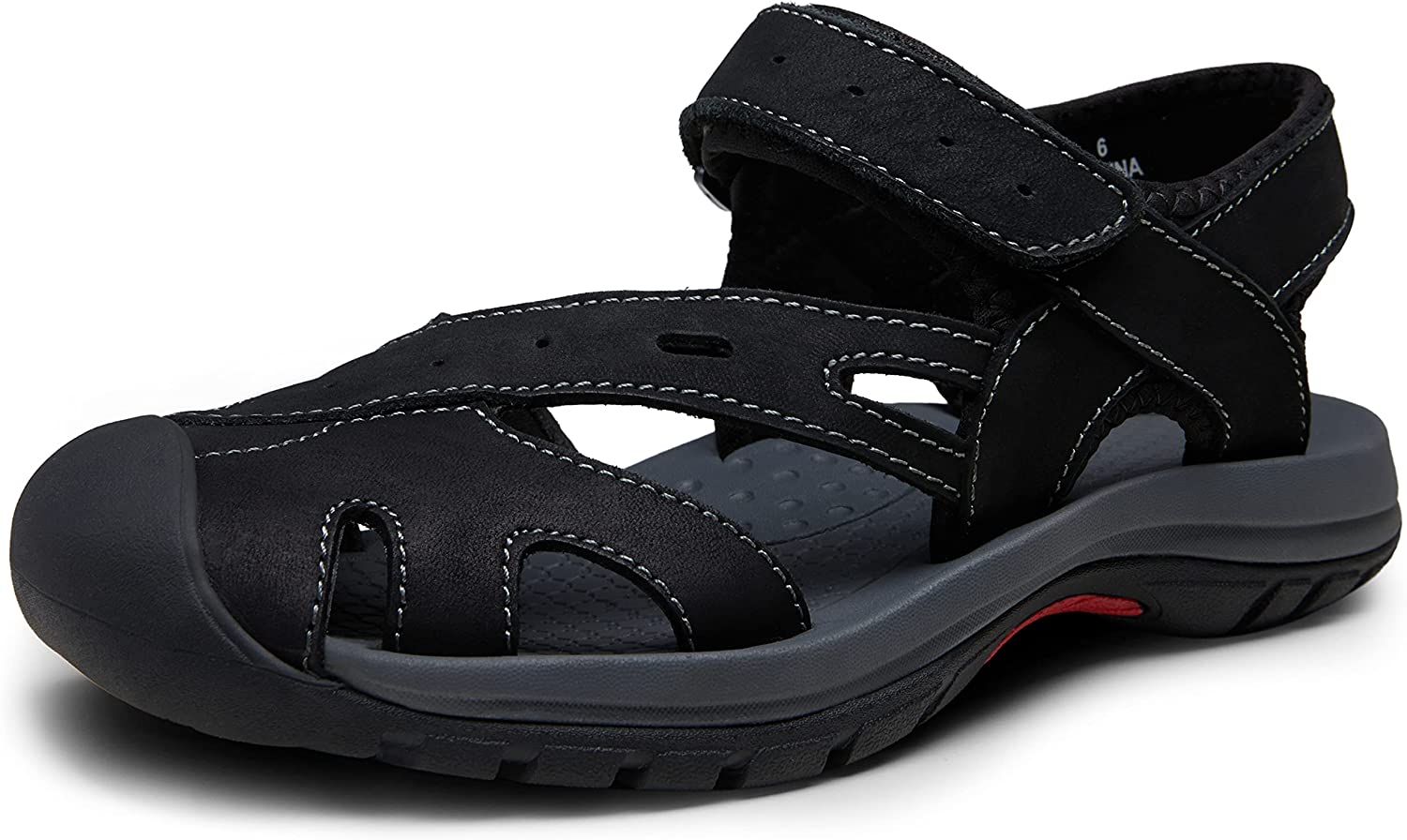 Jeossy Women's Leather Sports Sandals Summer Beach Closed Toe Outdoor Hiking Sandal Wide Width