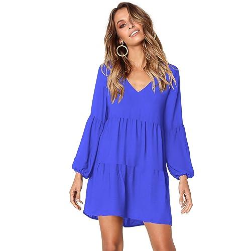 c75bb16f93 HPLY Women Long Sleeve Ruffle Loose Swing Dresses Casual V-Neck Shift Dress  (Blue