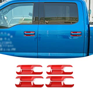 JeCar Outside Door Handle Bowl Outer Frame Insert Cover Trim ABS Decoration for Ford F150 2015-2019(Red,8 PCs)