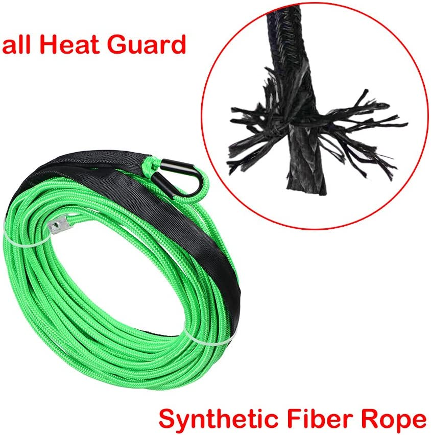 Hawse Fairlead For Recovery Car ATV UTV Ramsey KFI Rubber Stopper 50 x 1//4 GREEN Synthetic Winch Rope 7000LBs w//all Heat Guard Rock Protector Sleeve