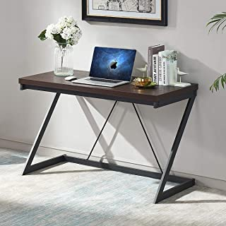 SHOCOKO Computer Desk 47 inch, Metal and Wood Z Writing Desk, Work Sturdy Table for Home Office, Espresso