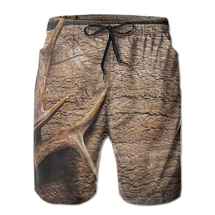 Men Swim Trunks Beach Shorts,Deer Antlers On Wood Table Rustic Texture Surface Hunting Season Fall Gathering Art